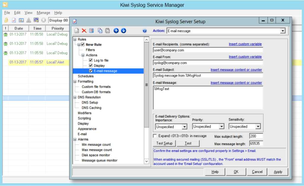 Kiwi Syslog Server log management tool