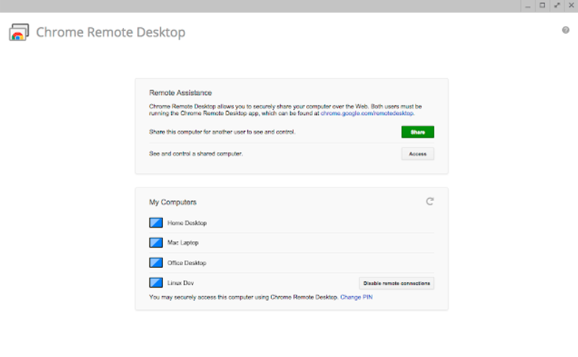 Chrome Remote Desktop free tool
