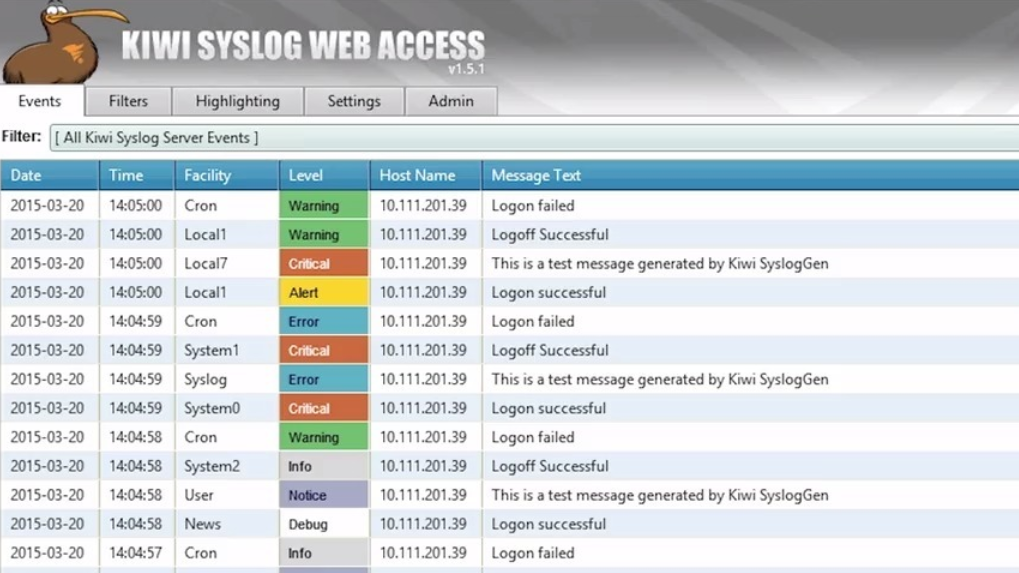 Kiwi Syslog web access screenshot for Windows Event log monitoring
