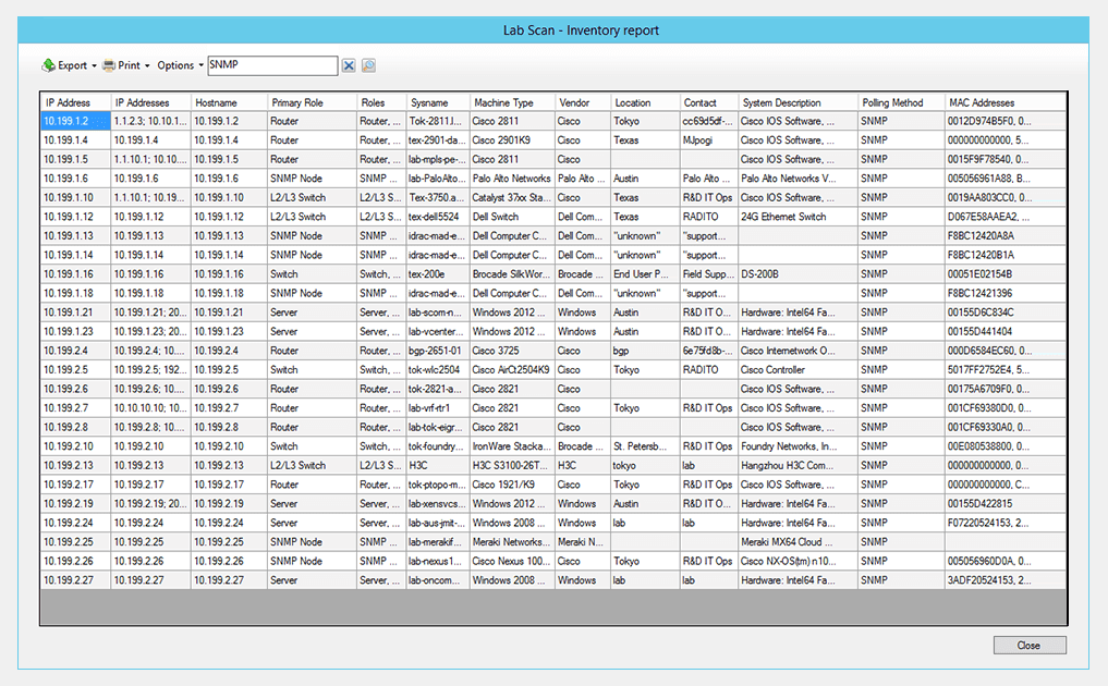 SolarWinds Network Topology Mapper inventory management tool